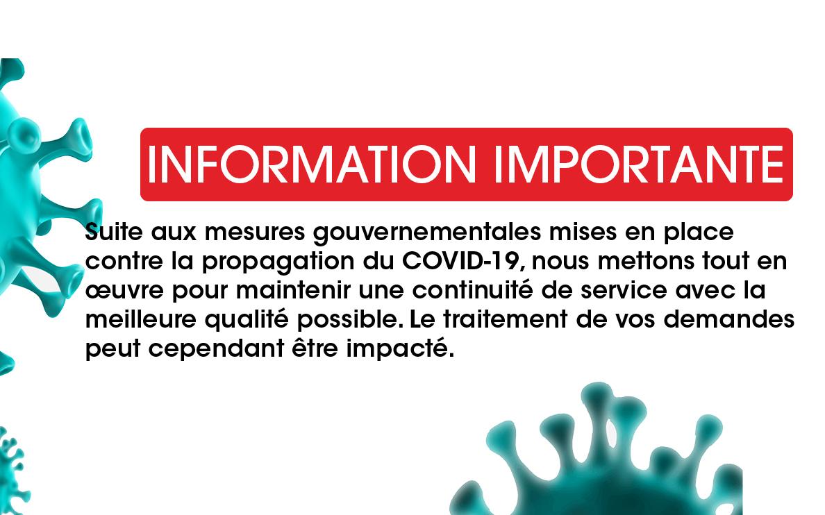 Information importante Covid 19