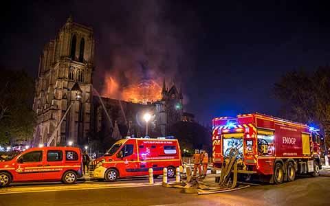 intervention des pompiers lors de l'incendie à Notre-Dame de Paris