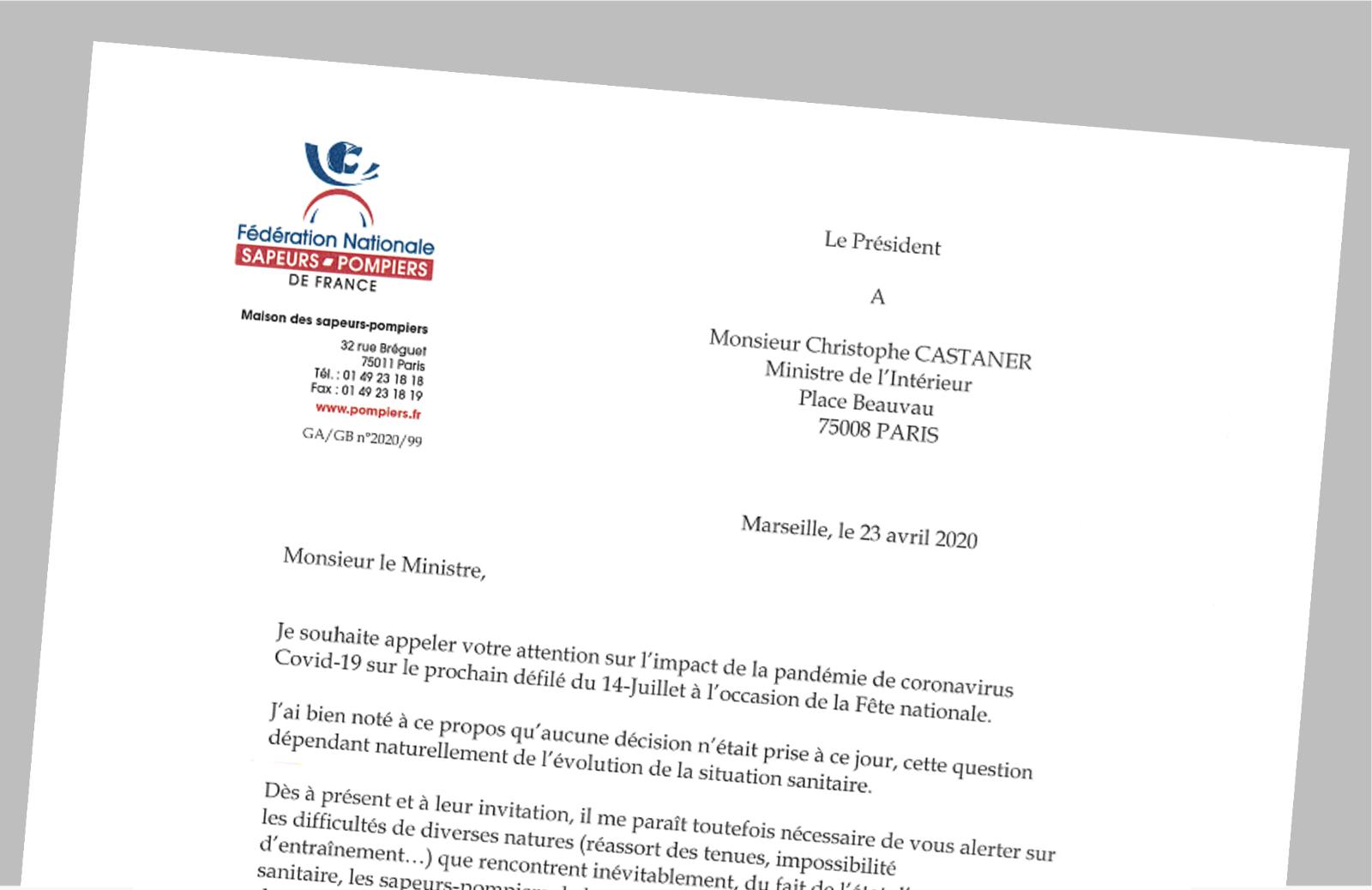 Pompiers de France-FNSPF-Courrier-Covid-19-Défile14juillet