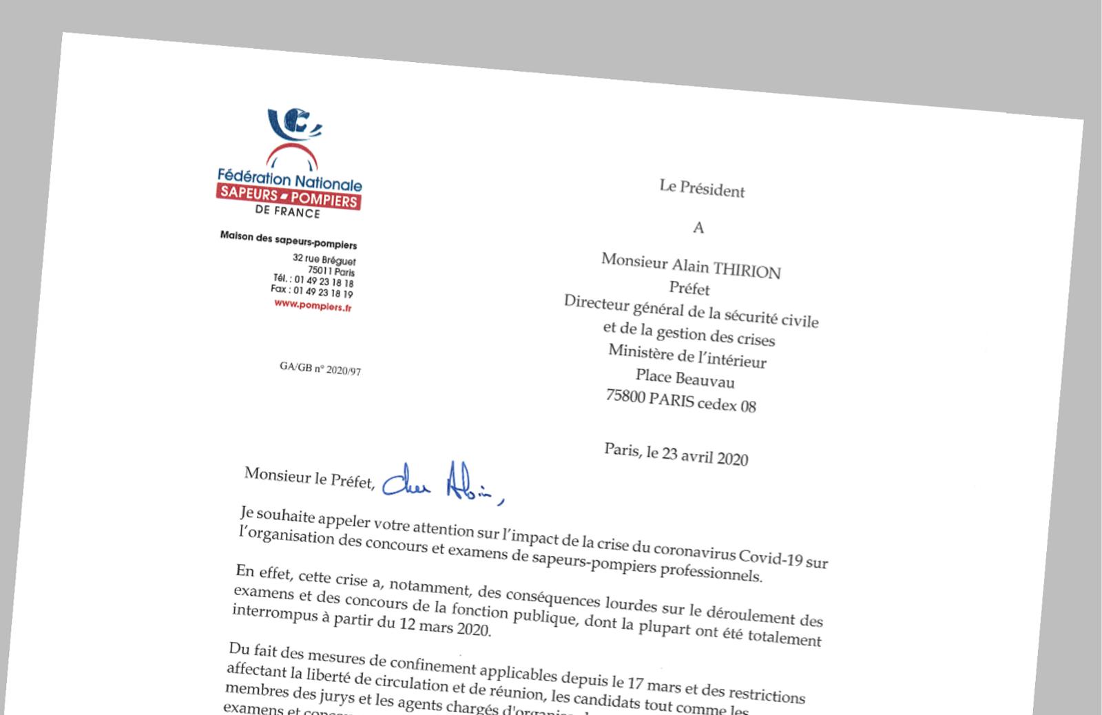 Pompiers de France-FNSPF-Courrier-Covid-19-ExamensConcoursSPP