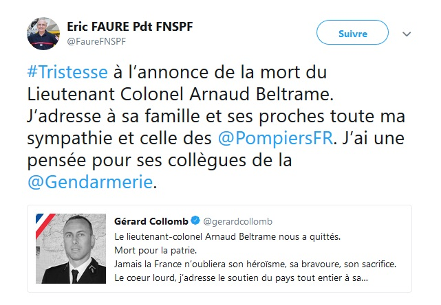 Tweet du président FNSPF Eric Faure - Hommage au LCL décédé en service