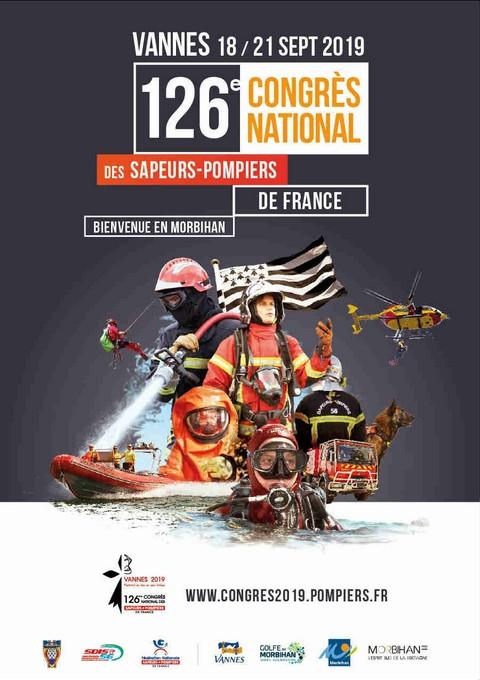 Affiche officielle du 126e congrès national des sapeurs-pompiers de France (Vannes 2019)