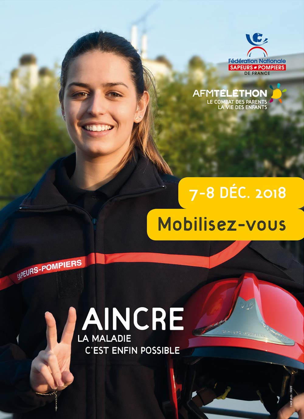 Affiche Téléthon 2018 - Sapeurs-pompiers FNSPF (Photo ©L.Picard / FNSPF)