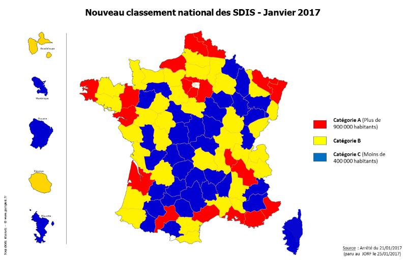 Cartographe du nouveau classement des SDIS (Janvier 2017)