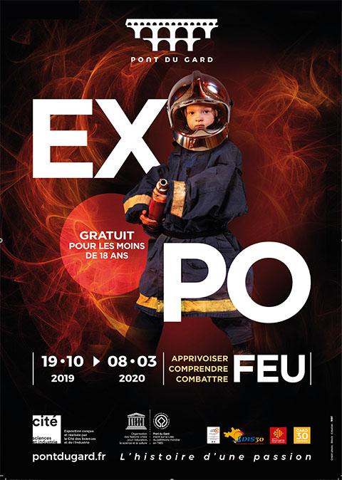 Affiche de l'exposition FEU, pont du Gard