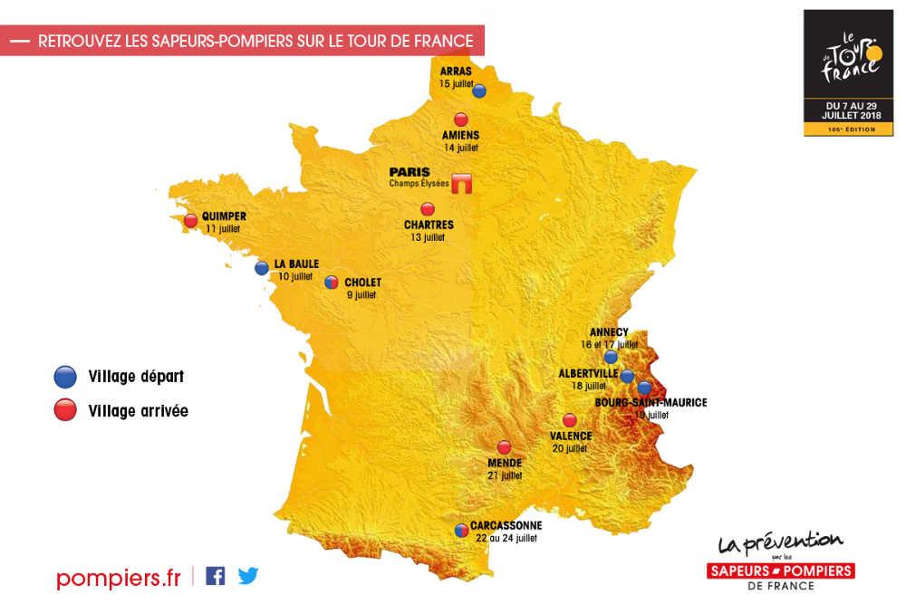 Carte stand prévention Pompiers - Tour de France 2018