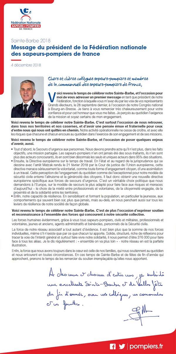 Visuel Message Sainte Barbe 2018