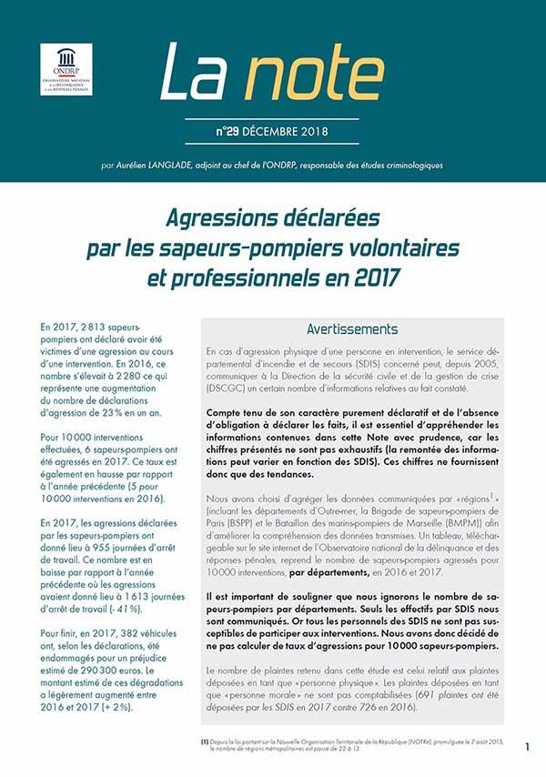 Note ONDRP - Décembre 2018 - Agressions déclarées de sapeurs-pompiers en 2017