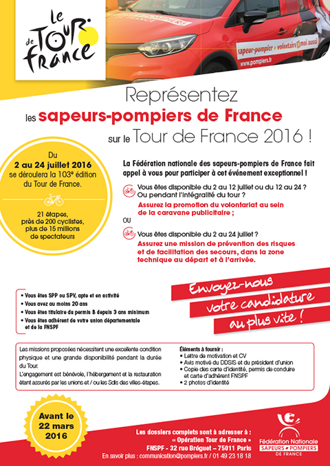 Tour De France 2016 Appel à Candidature Pompiers Fr