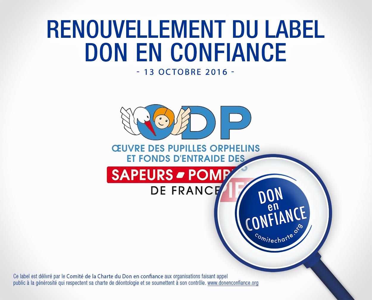 Renouvellement du label Don en confiance - 13 octobre 2016