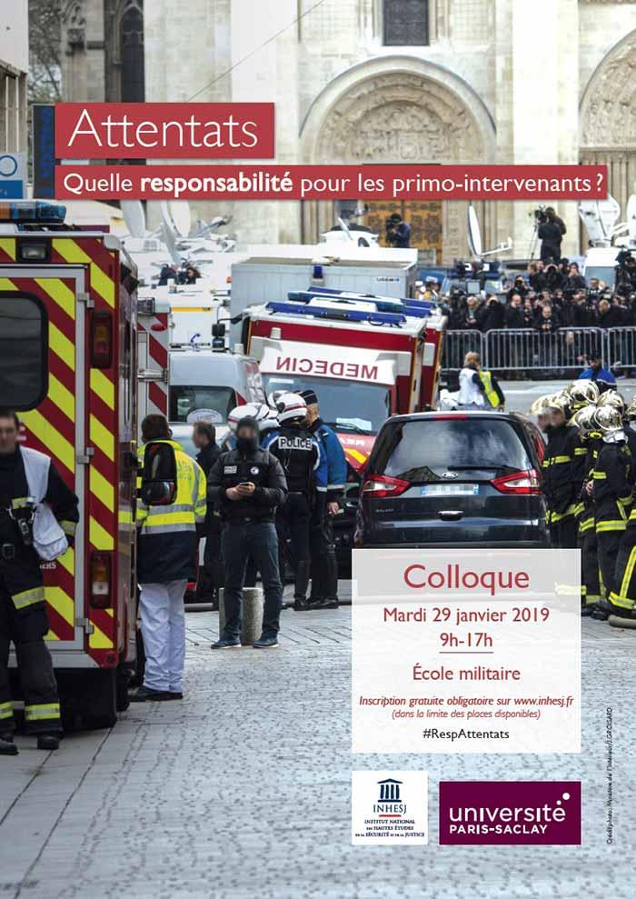 Affiche Colloque INHESJ Attentats responsabilité des primo intervenants
