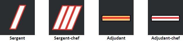Grades chez les sapeurs-pompiers civils : sous-officiers : sergent, sergent-chef, adjudant, adjudant-chef