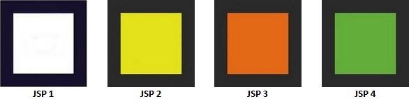 Galons des jeunes sapeurs-pompiers (galons des JSP) : JSP 1 blanc, JSP 2 jaune, JSP 3 orange, JSP 4 vert