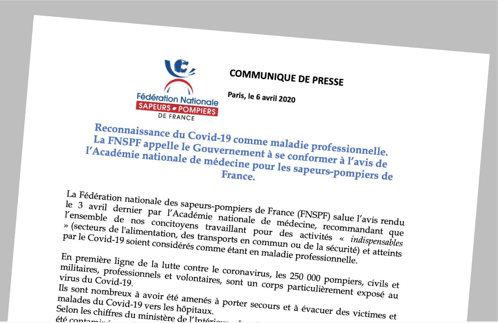 Pompiers de France-FNSPF-CP-Covid-19-Maladie pro