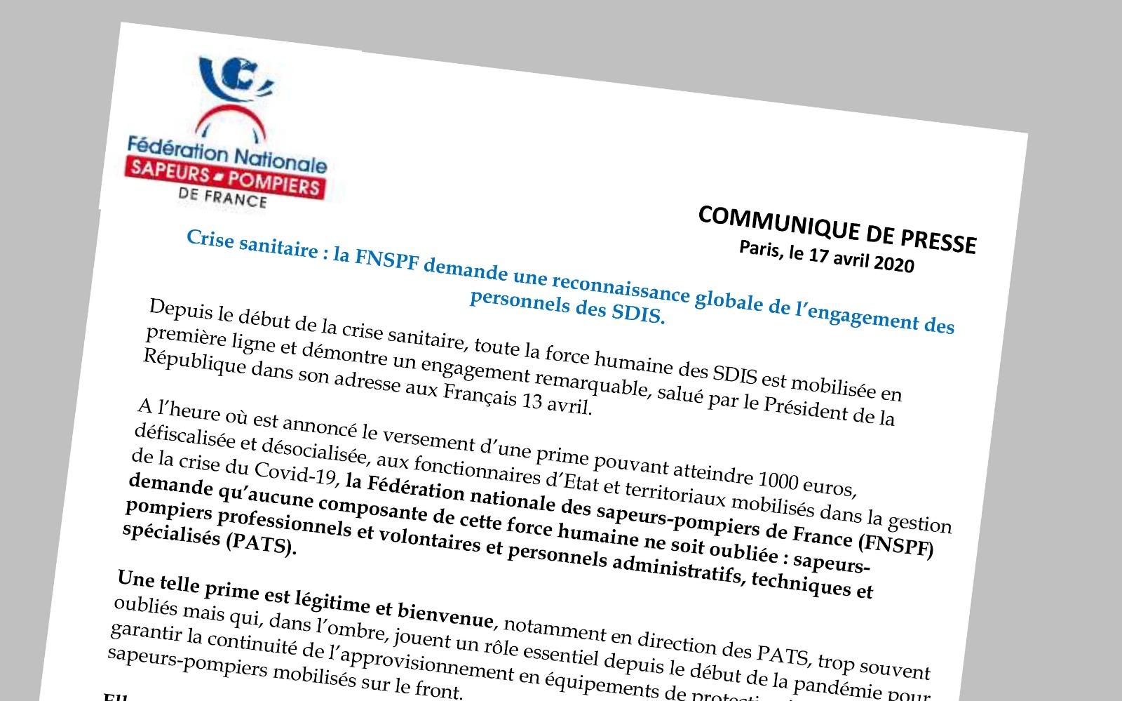 Crise sanitaire : la FNSPF demande une reconnaissance globale de l'engagement des personnels des SDIS