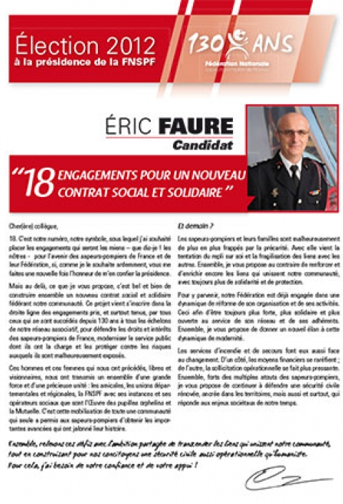 Programme 2012-2015. Président Eric Faure