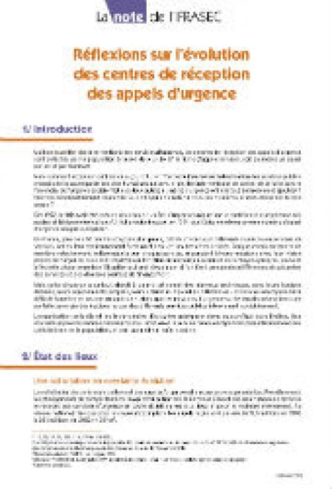 Note IFRASEC : Réflexions sur l'évolution des centres de réception des appels d'urgence