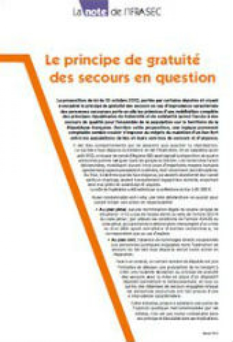 Note IFRASEC : Le principe de gratuité des secours en question
