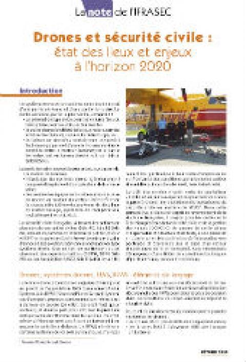 Note IFRASEC : Drones et sécurité civile : état des lieux et enjeux à l'horizon 2020