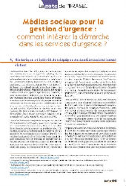 Note IFRASEC : Médias sociaux pour la gestion d'urgence