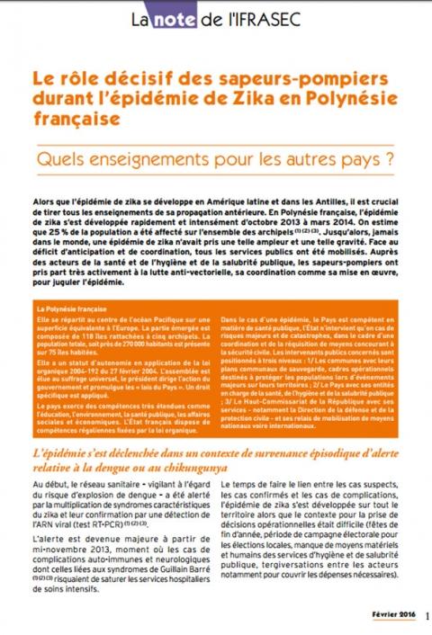 Note IFRASEC: Epidémie de Zika en Polynésie française
