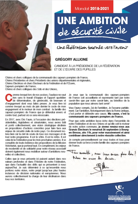 Candidature de Grégory Allione - programme 2018-2021